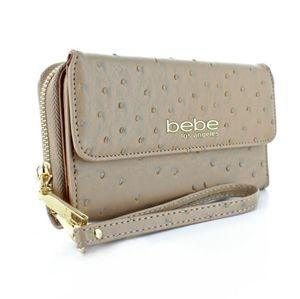 bebe® Clarita Ostrich-Textured wristlet Wallet